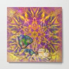 Balancing rock in psychedelic landscape Metal Print