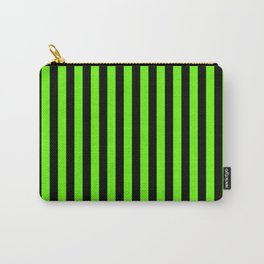 Bright Green and Black Vertical Stripes Carry-All Pouch