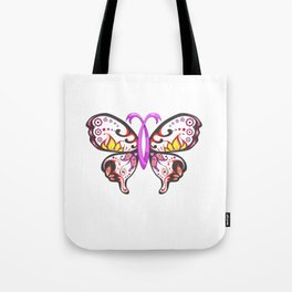 Sugar Skull Pink Ribbon Butterfly Breast Cancer Tote Bag