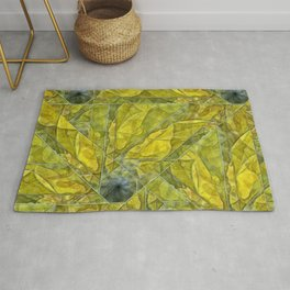 Abstract Yellow-Gold Sundrops Rug