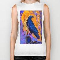 blankets Biker Tanks featuring Blue Raven Orange Moon Night Art by SharlesArt