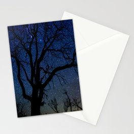 Black Trees Starry Night Stationery Cards