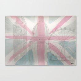 London Big Ben Parliament Water Color Painting Canvas Print