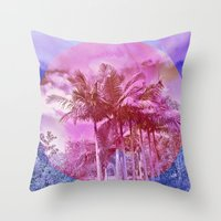 palm trees Throw Pillows featuring Palm trees by Lara Gurney