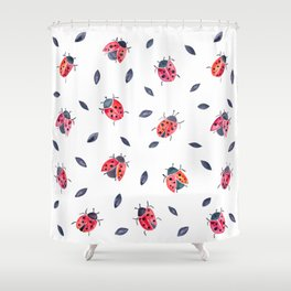 Lucky Ladybugs & Black Leaves Shower Curtain