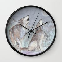wolves Wall Clocks featuring Wolves by Jen Hallbrown