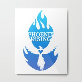 PHOENIX RISING blue with flames and heart center Metal Print