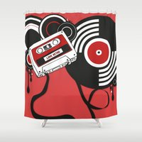 hiphop Shower Curtains featuring Retro by Square Lemon