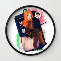 amy pond Wall Clocks featuring Doctor Who - Amy Pond by Lucy Fidelis