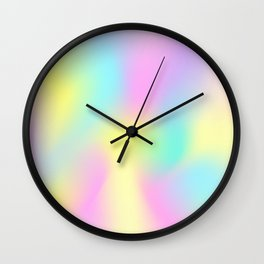 Holographic Iridescence Trendy Multi colored Vibrant Pattern  Wall Clock