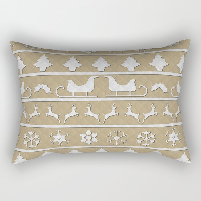 Gold & White Christmas Ugly Sweater Nordic Knit Rectangular Pillow
