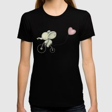Cute Elephant riding his bike SMALL Black Womens Fitted Tee