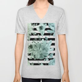 Succulents in the Garden Teal Blue Green Gradient with Black Stripes Unisex V-Neck