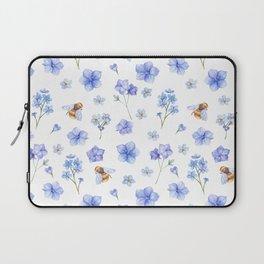 Elegant lavender brown watercolor honey bee floral Laptop Sleeve