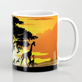 Wild Animals on African Savanna Sunset Coffee Mug