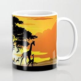 Wild Animals on African Savanna Sunset Coffee Mug