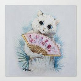 Louis Wain's Feline Temptress With Fan Canvas Print