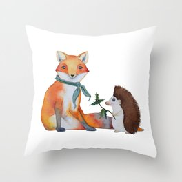 Fox and Hedgehog Have a Picnic Throw Pillow