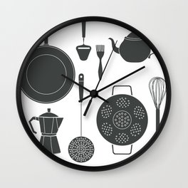 Kitchen Tools (black on white) Wall Clock