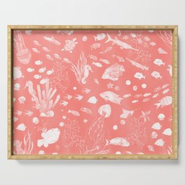 Watercolor Seascape in Deep Coral Peach Serving Tray