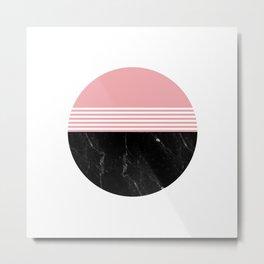 Minimal Geometric Marble Circle Metal Print