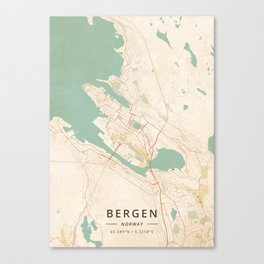 Bergen, Norway - Vintage Map Canvas Print
