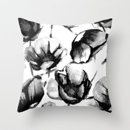 Flora Black Throw Pillow
