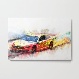 Joey Logano on Fire Metal Print