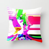 holographic Throw Pillows featuring future holographic lover by Robert Alan