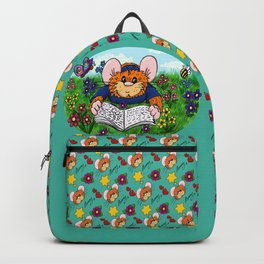Hammy reading in a Meadow (green) Backpack