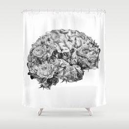 flower brain black and white Shower Curtain