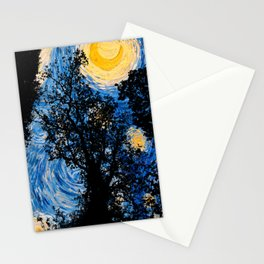 Starry Forest Night Stationery Cards