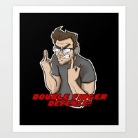 markiplier Art Prints featuring Markiplier - DOUBLE FINGER DEFENCE by tru Creative Designs