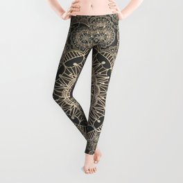 Pewter and Rose-Gold Patterned Mandalas Leggings