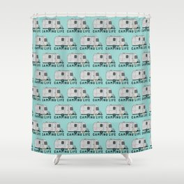 Happy camping life with cute Frenchies Shower Curtain