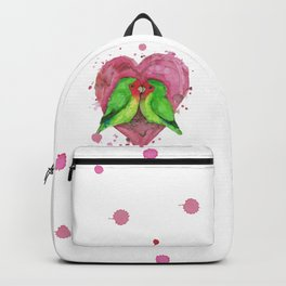 Peach faced lovebirds in love Backpack