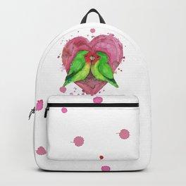 Peach faced lovebirds in love Backpack