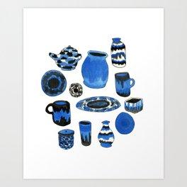 Cobalt Pottery Art Print