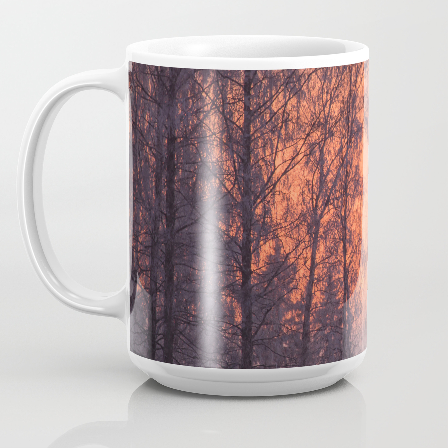 Winter Scene Frosty Trees Against The Sunset Decor Society6 Homedecor Coffee Mug