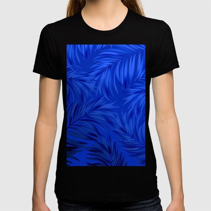 Palm Tree Fronds Brilliant Blue on Blue Hawaii Tropical Décor T-shirt
