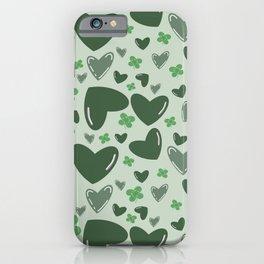 Green Hearts & Shamrocks Pattern iPhone Case