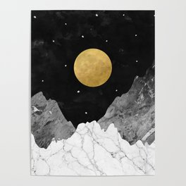 Moon and Stars Poster