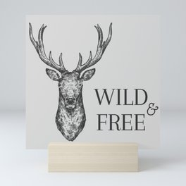 Grey Wild & Free Stag Traveller Deer Mini Art Print