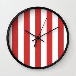 Persian red - solid color - white vertical lines pattern Wall Clock