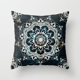 Glowing Spirit Mandala Blue White Bohemian Hippie Zen Indian Yoga Mantra Meditation Throw Pillow