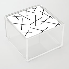 Black and white mikado stripes dash pattern Acrylic Box