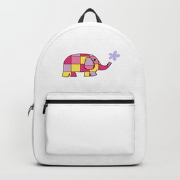Pink, Yellow, Lilac Checked Elephant Backpack