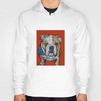 english bulldog Hoodies featuring Johnny the English Bulldog by Pawblo Picasso