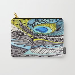 Peacock feather illustration wall art Carry-All Pouch