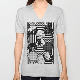 Hexual - Black and white, honeycomb, hexagon pattern, stripes, paint splats, grid and marble Unisex V-Neck